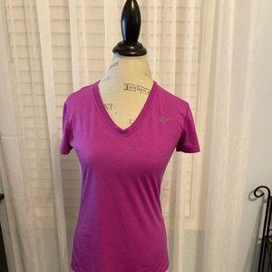 Fuchsia Nike Dri-fit v-neck top